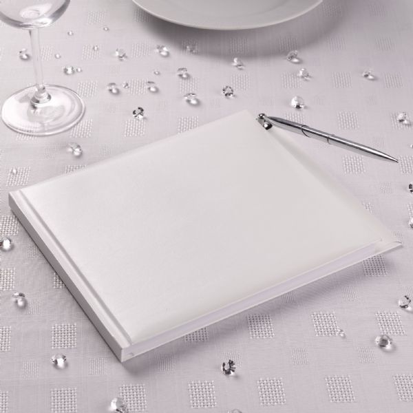 Plain White Wedding Guest Book With Pen